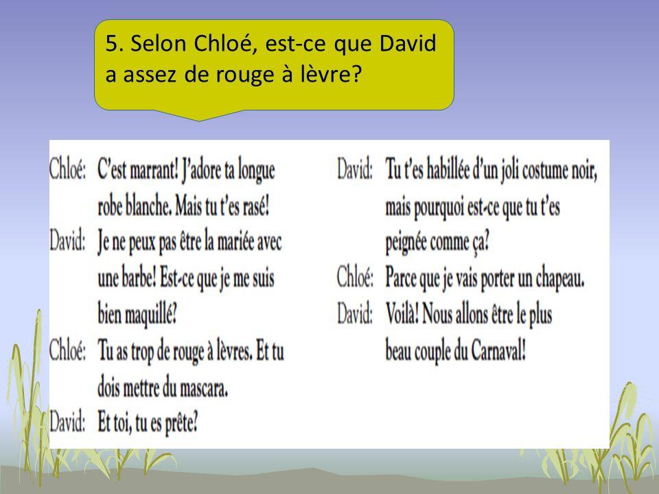5. Selon Chloé, est-ce que David