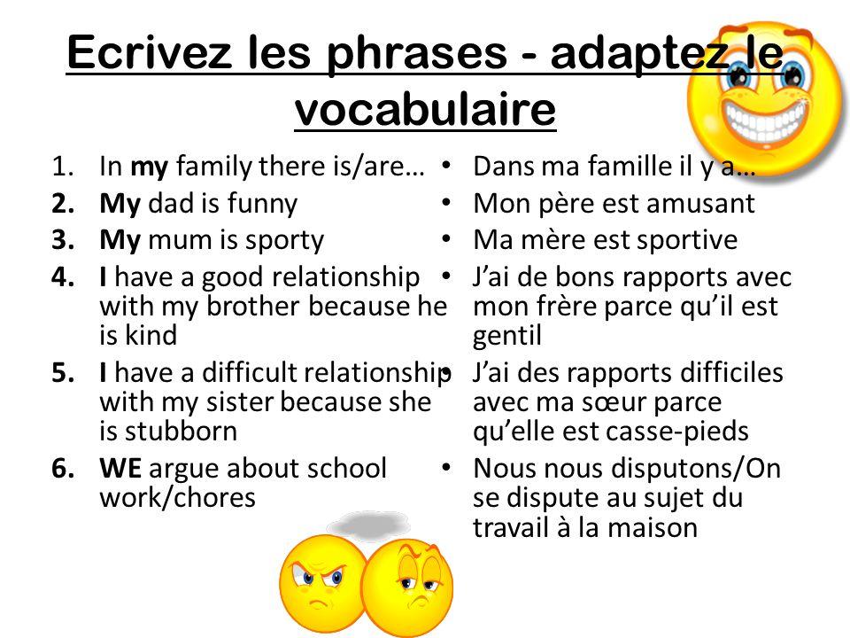 Ecrivez les phrases - adaptez le vocabulaire