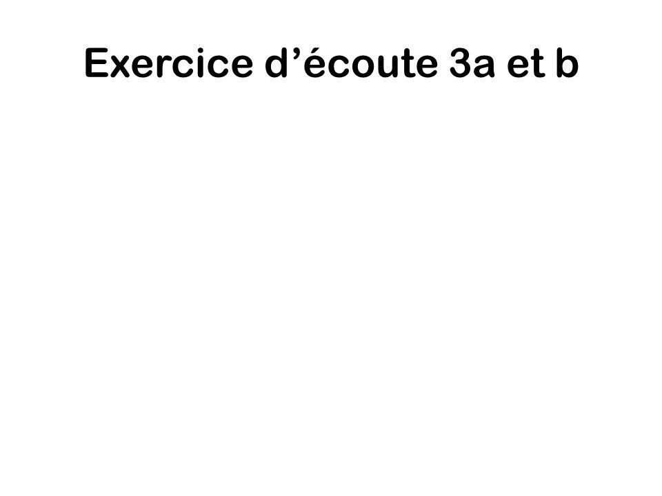 Exercice d'écoute 3a et b