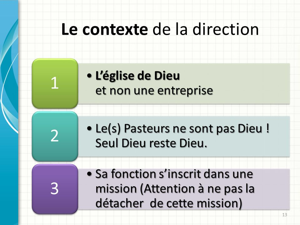 Le contexte de la direction