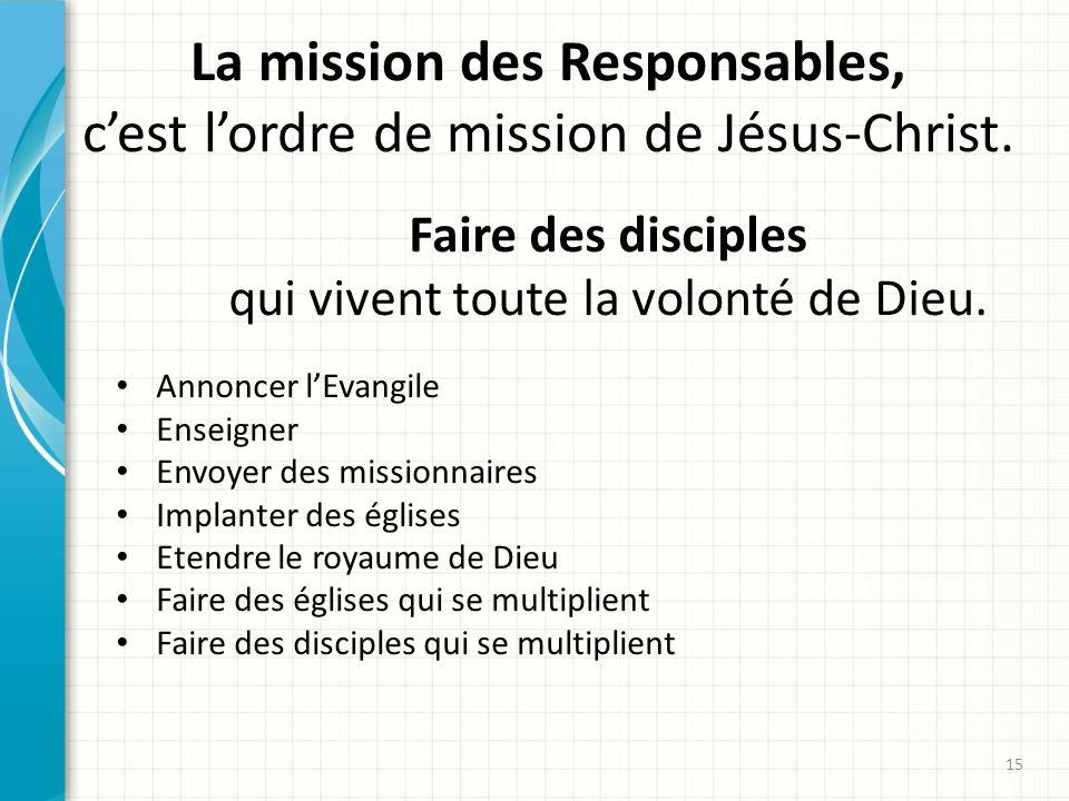La mission des Responsables, c'est l'ordre de mission de Jésus-Christ.