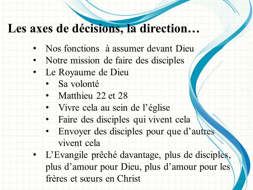 Les axes de décisions, la direction…