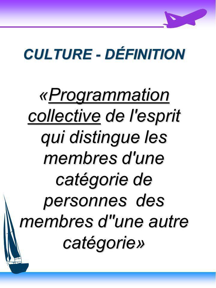 CULTURE - DÉFINITION «Programmation collective de l esprit qui distingue les membres d une catégorie de personnes des membres d une autre catégorie»