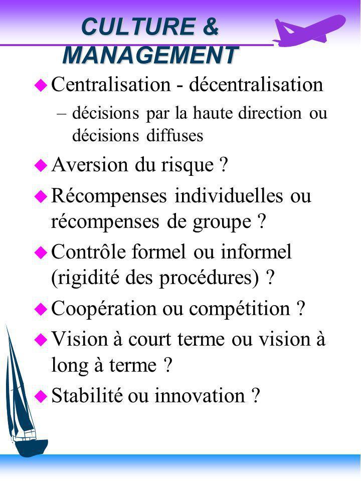 CULTURE & MANAGEMENT Centralisation - décentralisation