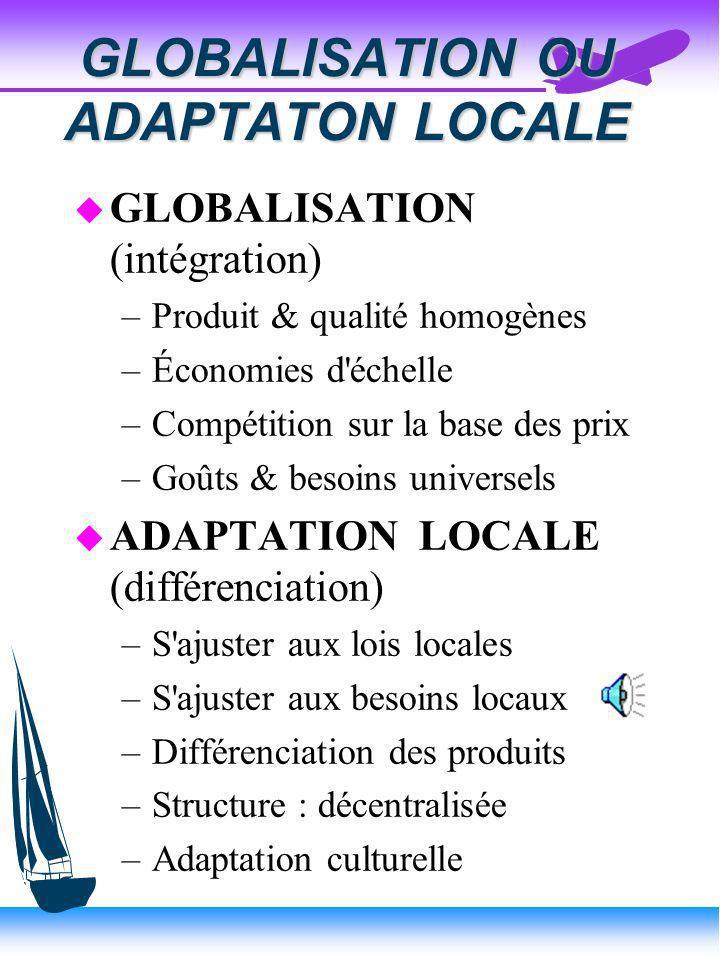 GLOBALISATION OU ADAPTATON LOCALE