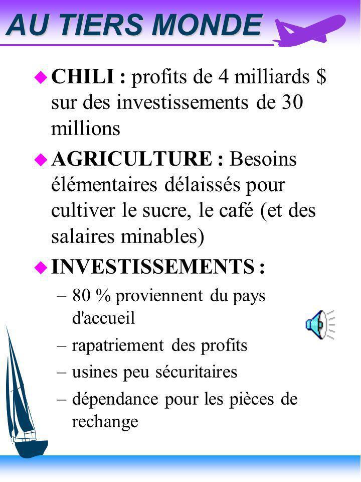 AU TIERS MONDE CHILI : profits de 4 milliards $ sur des investissements de 30 millions.