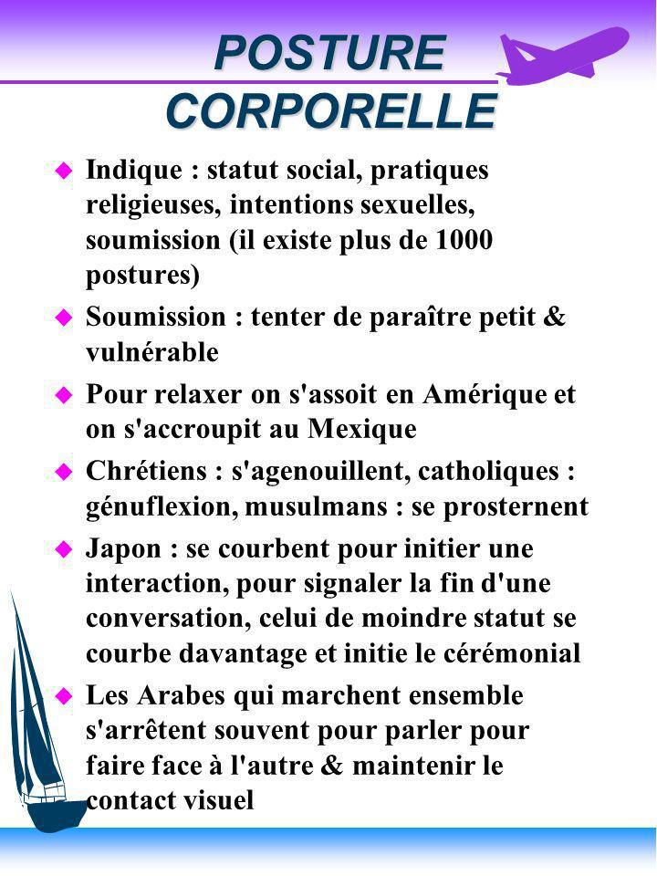 POSTURE CORPORELLE Indique : statut social, pratiques religieuses, intentions sexuelles, soumission (il existe plus de 1000 postures)