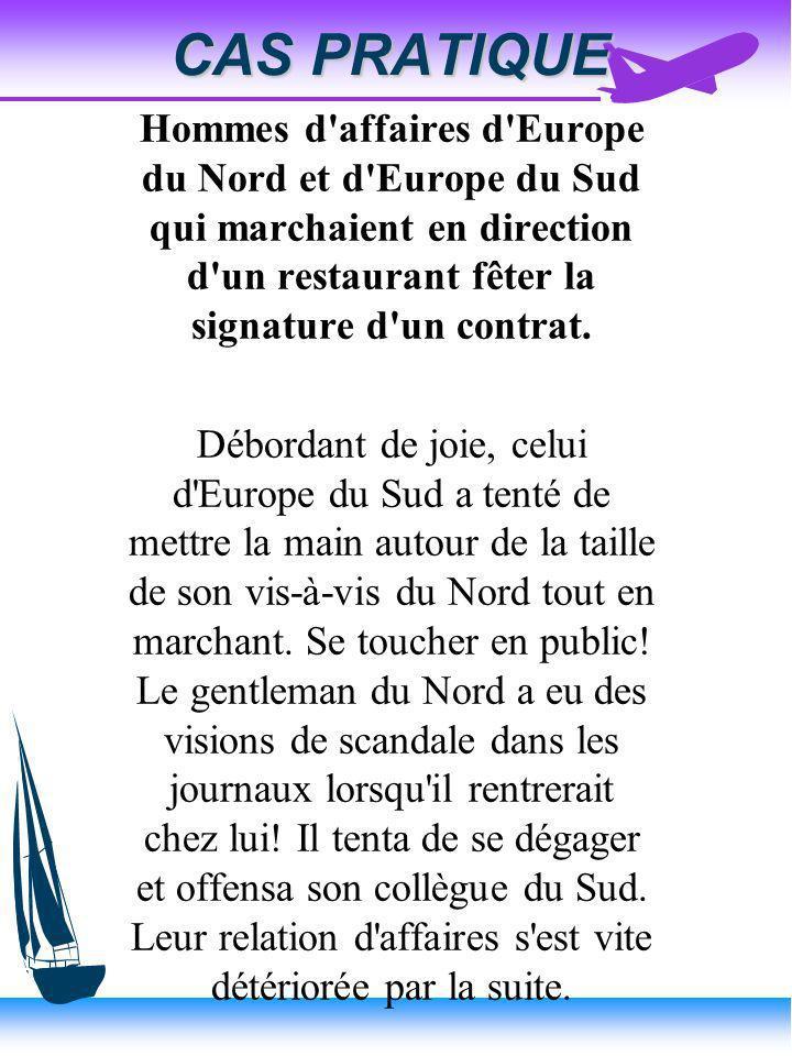 CAS PRATIQUE Hommes d affaires d Europe du Nord et d Europe du Sud qui marchaient en direction d un restaurant fêter la signature d un contrat.