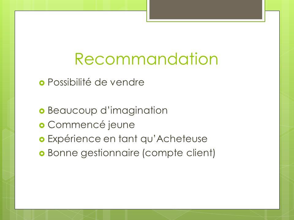 Recommandation Possibilité de vendre Beaucoup d'imagination