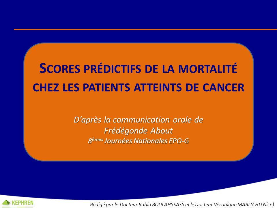 Scores prédictifs de la mortalité chez les patients atteints de cancer