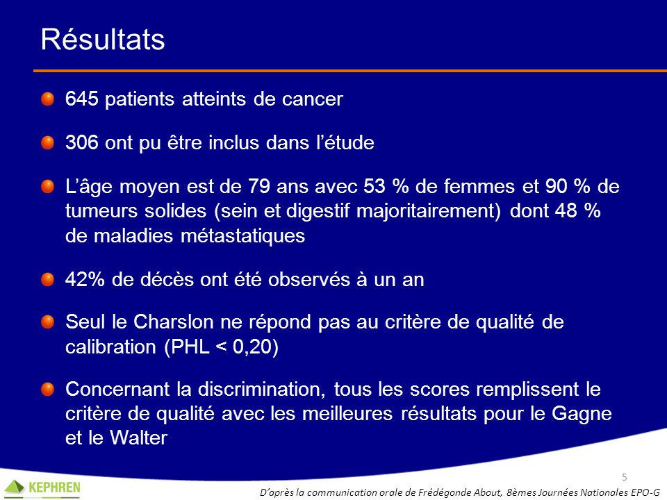 Résultats 645 patients atteints de cancer
