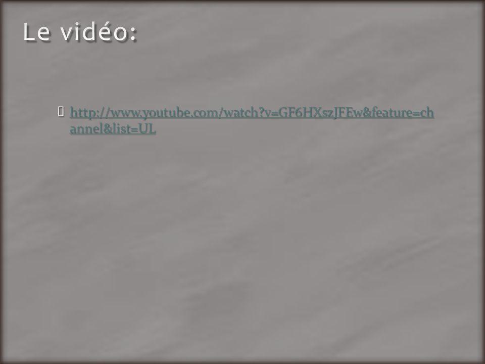 Le vidéo: http://www.youtube.com/watch v=GF6HXszJFEw&feature=ch annel&list=UL