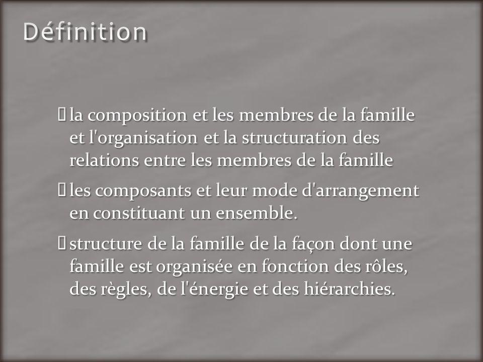 Définition la composition et les membres de la famille et l organisation et la structuration des relations entre les membres de la famille.