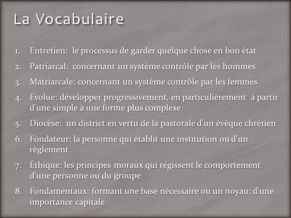 La Vocabulaire Entretien: le processus de garder quelque chose en bon état. Patriarcal: concernant un système contrôle par les hommes.