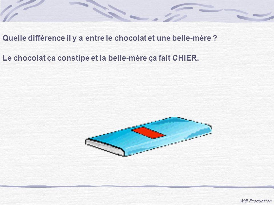 Quelle différence il y a entre le chocolat et une belle-mère