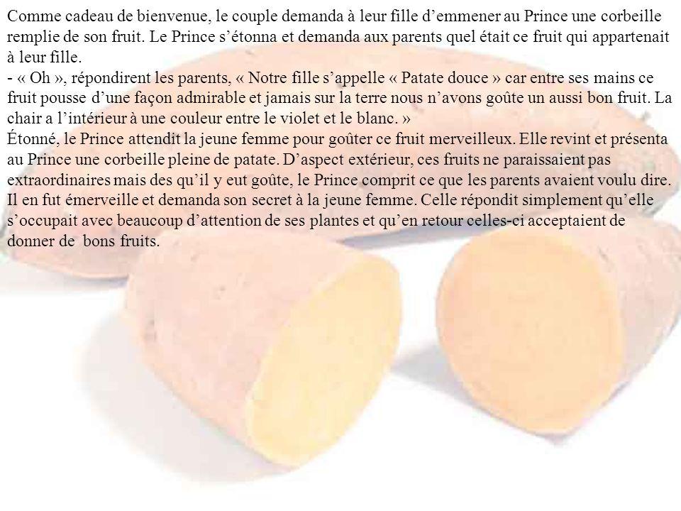 Comme cadeau de bienvenue, le couple demanda à leur fille d'emmener au Prince une corbeille remplie de son fruit.