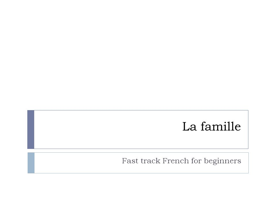 Fast track French for beginners