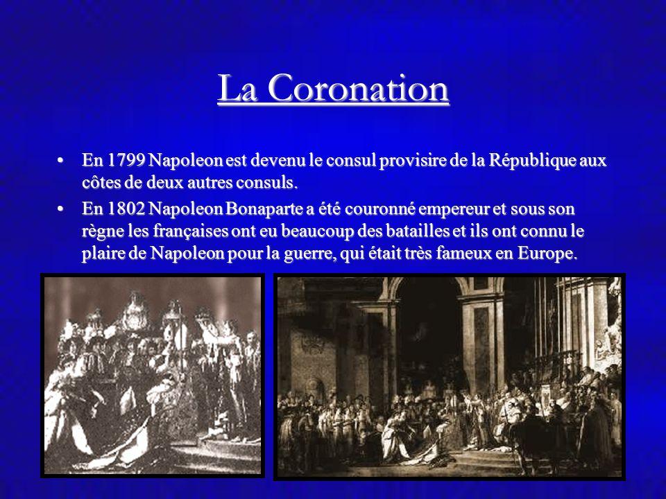 La Coronation En 1799 Napoleon est devenu le consul provisire de la République aux côtes de deux autres consuls.