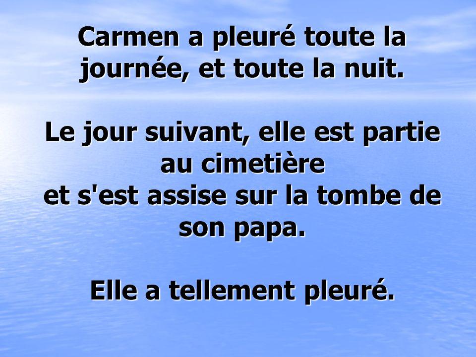 Carmen a pleuré toute la journée, et toute la nuit