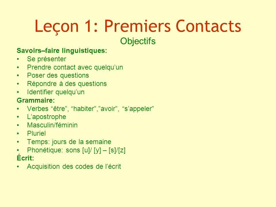 Leçon 1: Premiers Contacts