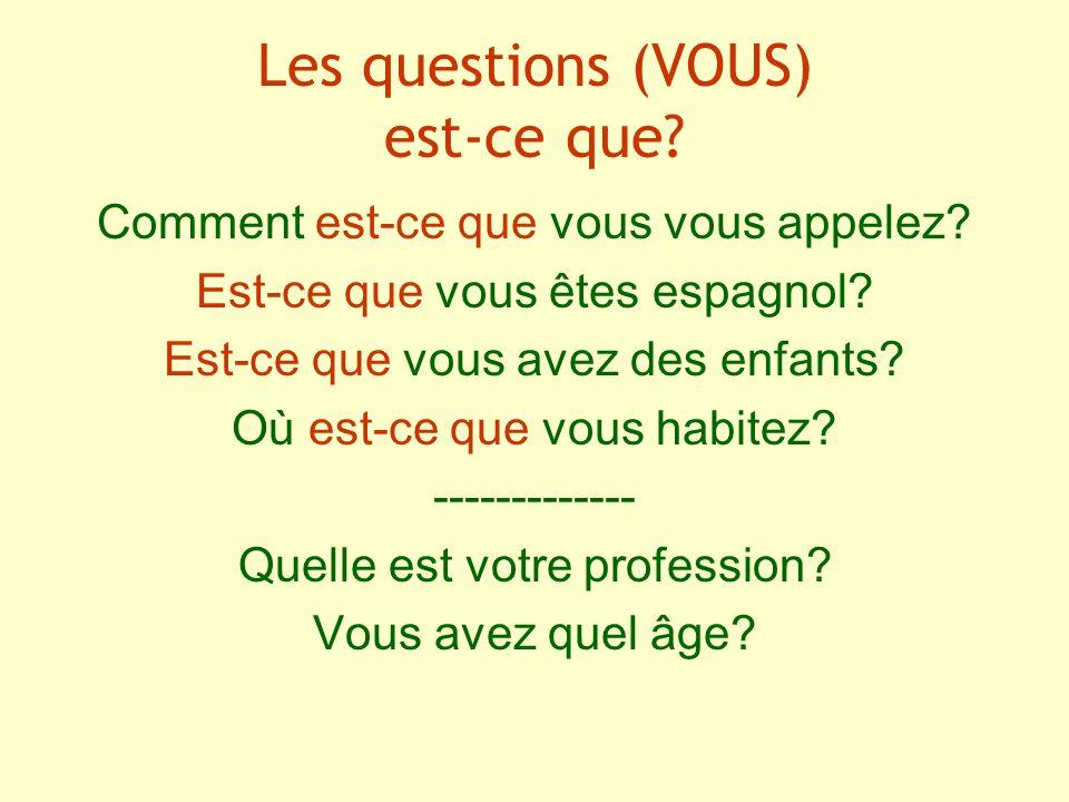 Les questions (VOUS) est-ce que