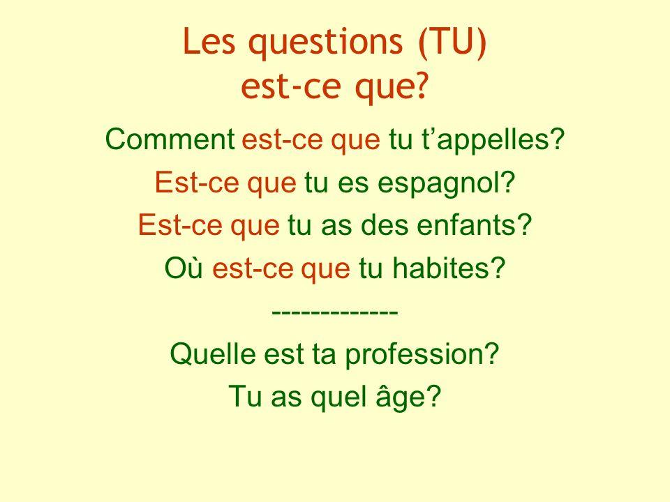 Les questions (TU) est-ce que