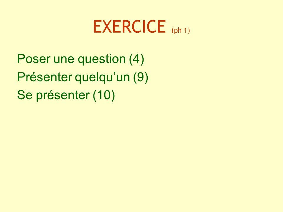 EXERCICE (ph 1) Poser une question (4) Présenter quelqu'un (9)