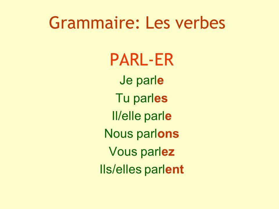 Grammaire: Les verbes PARL-ER Je parle Tu parles Il/elle parle