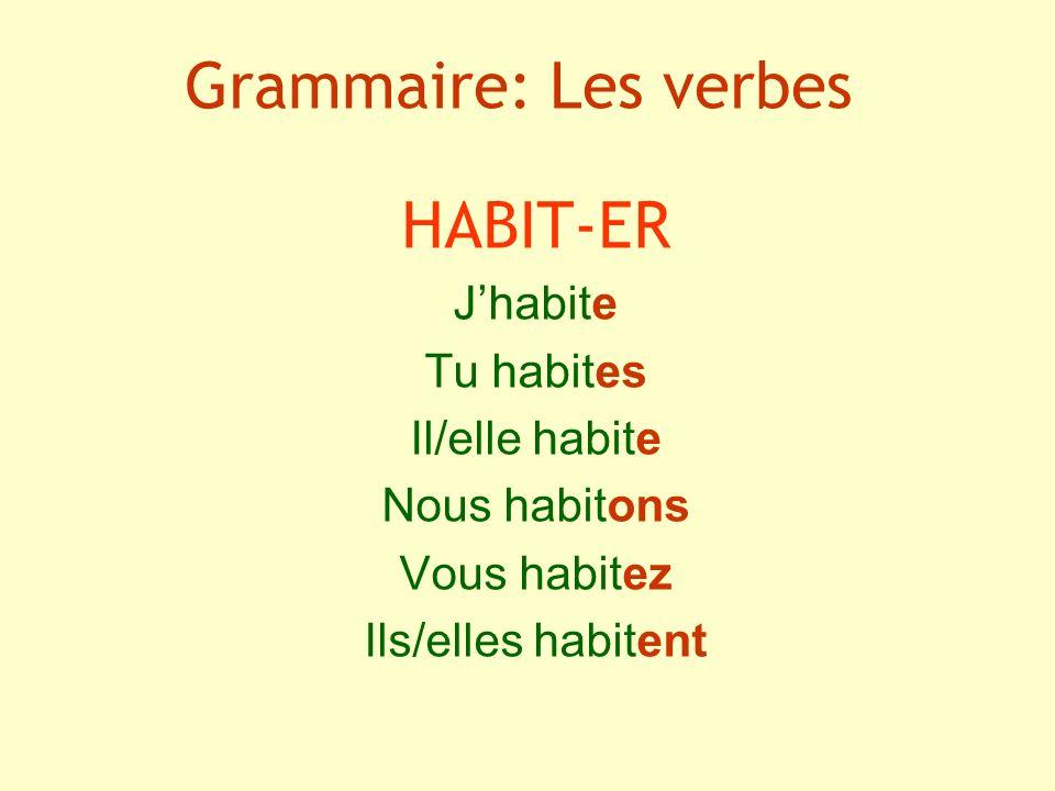 Grammaire: Les verbes HABIT-ER J'habite Tu habites Il/elle habite