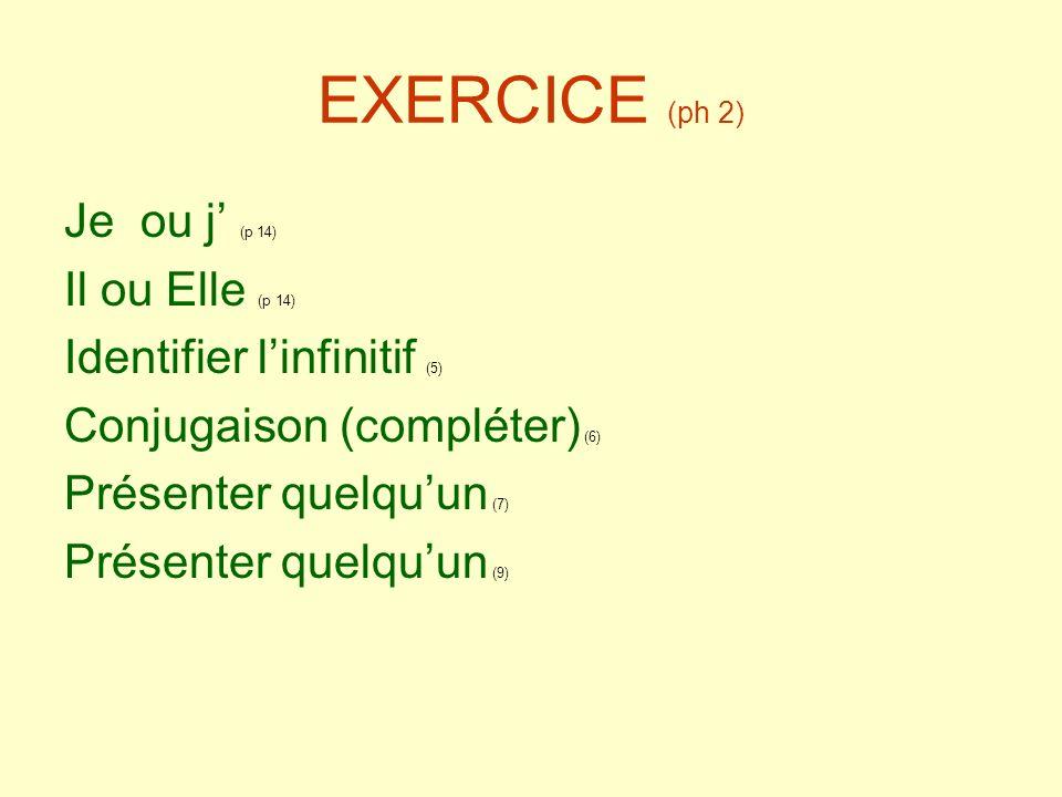 EXERCICE (ph 2) Je ou j' (p 14) Il ou Elle (p 14)