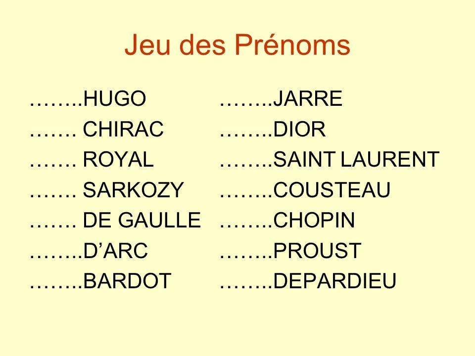 Jeu des Prénoms ……..HUGO ……..JARRE ……. CHIRAC ……..DIOR