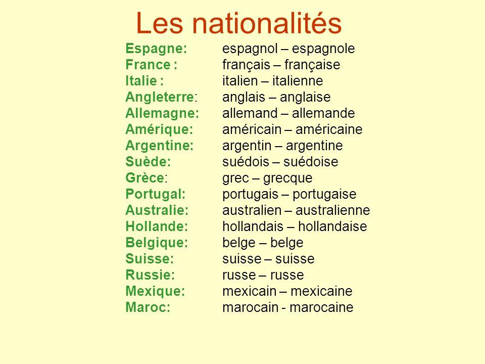 Les nationalités Espagne: espagnol – espagnole