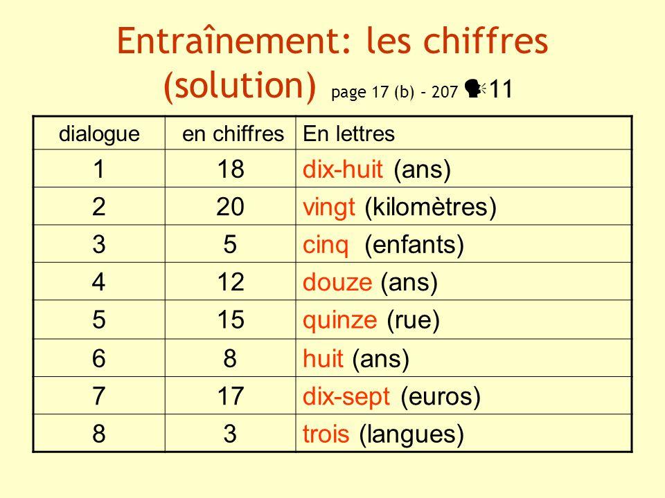 Entraînement: les chiffres (solution) page 17 (b) – 207 11