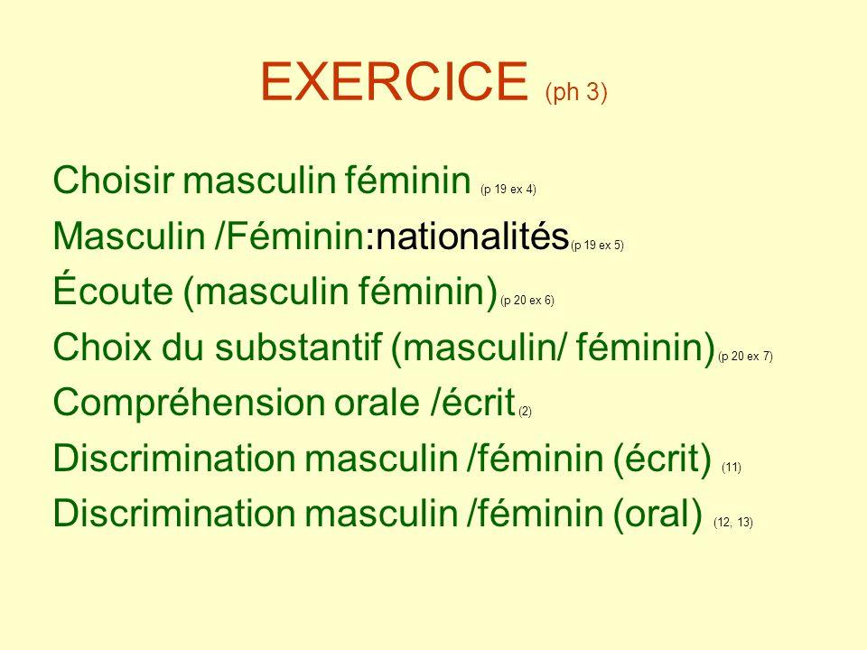 EXERCICE (ph 3) Choisir masculin féminin (p 19 ex 4)