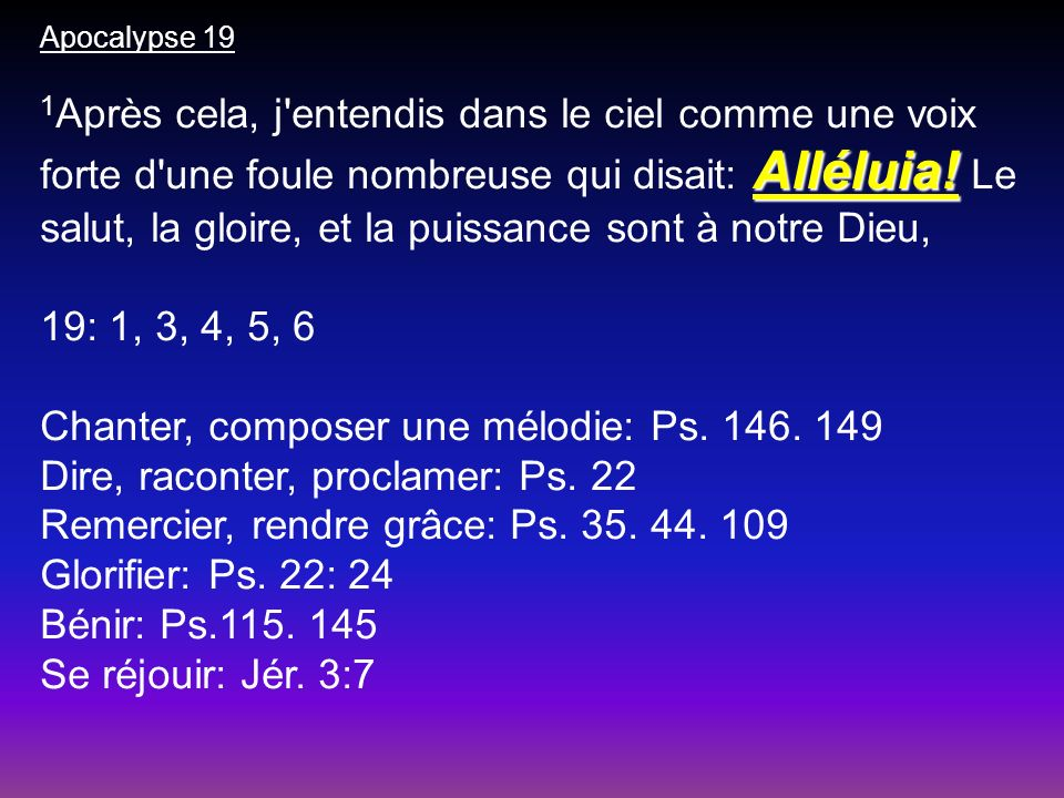 Chanter, composer une mélodie: Ps. 146. 149