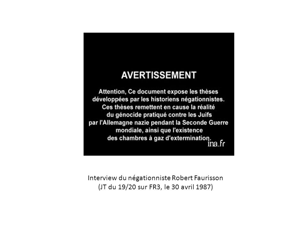 Interview du négationniste Robert Faurisson