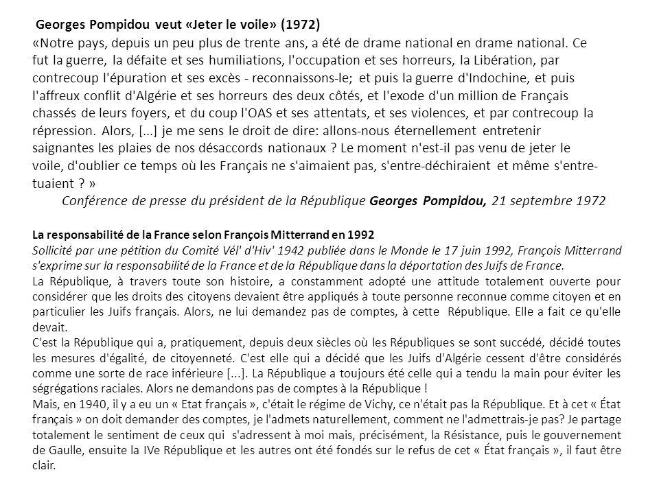Georges Pompidou veut «Jeter le voile» (1972)