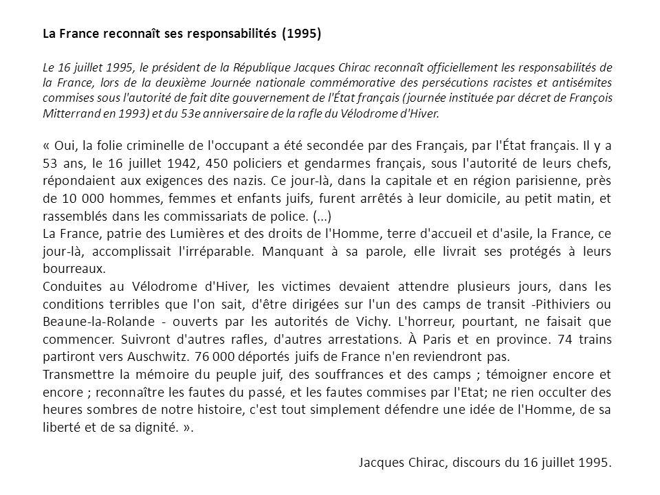 La France reconnaît ses responsabilités (1995)