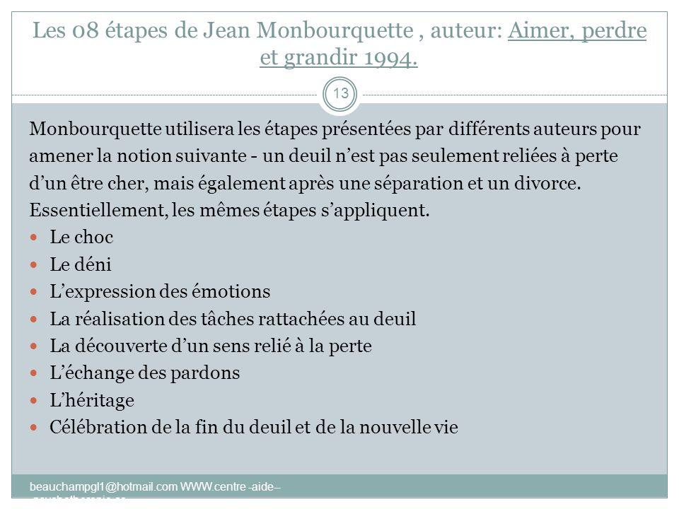 Les 08 étapes de Jean Monbourquette , auteur: Aimer, perdre et grandir 1994.