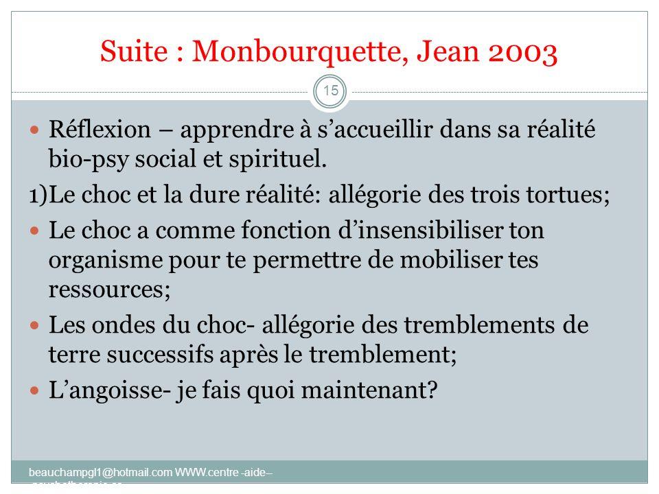 Suite : Monbourquette, Jean 2003