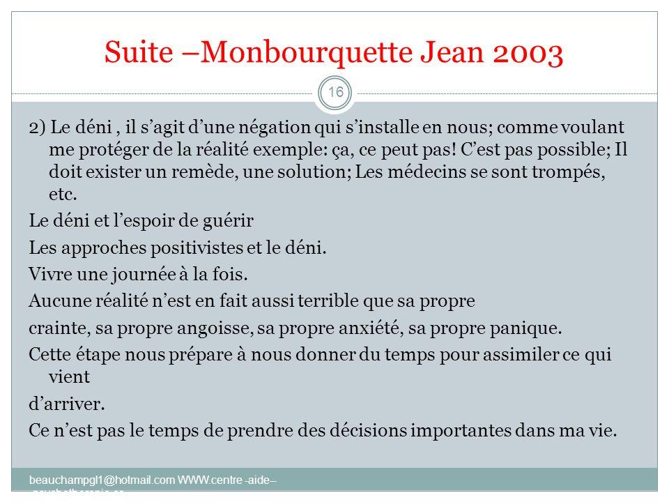 Suite –Monbourquette Jean 2003
