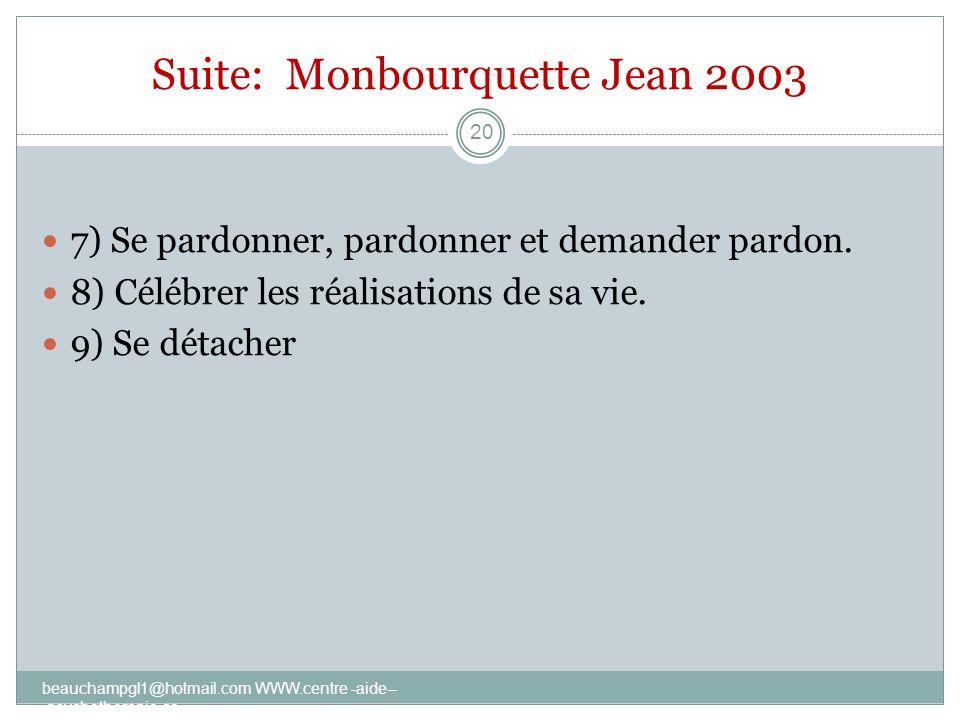 Suite: Monbourquette Jean 2003