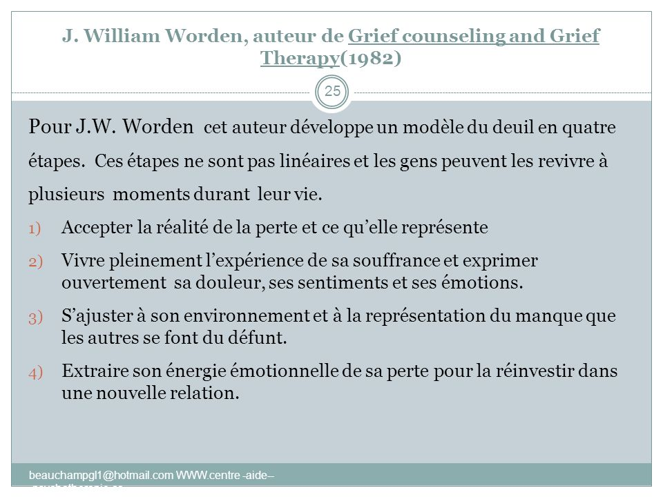 J. William Worden, auteur de Grief counseling and Grief Therapy(1982)