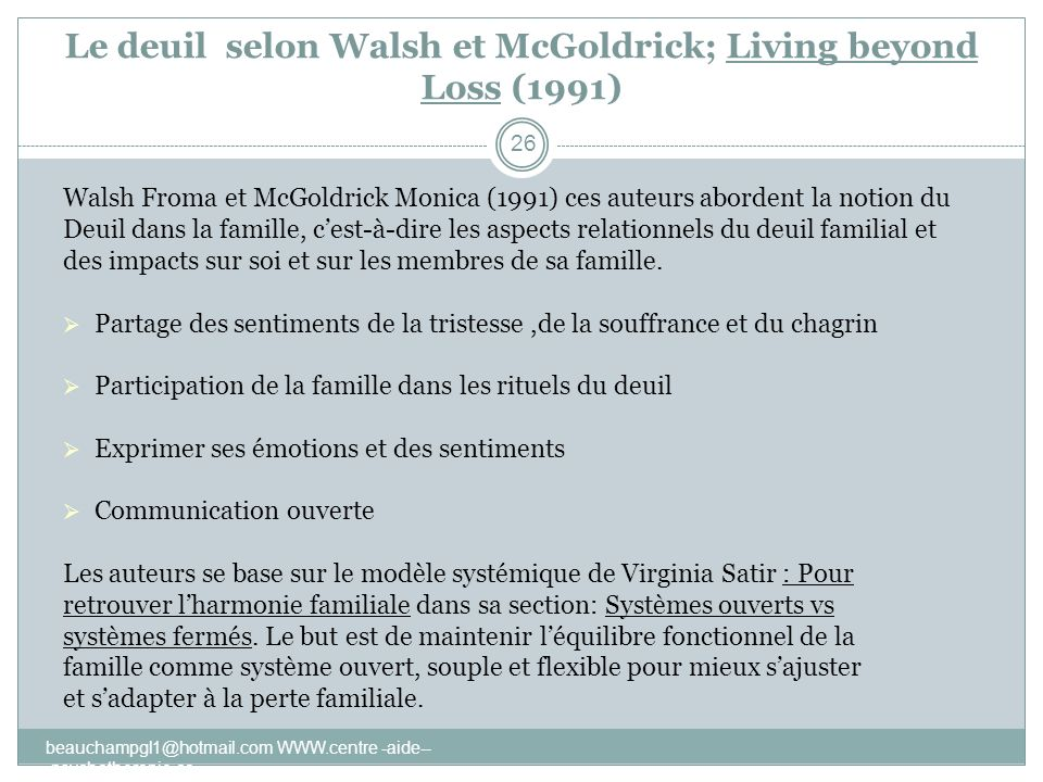Le deuil selon Walsh et McGoldrick; Living beyond Loss (1991)