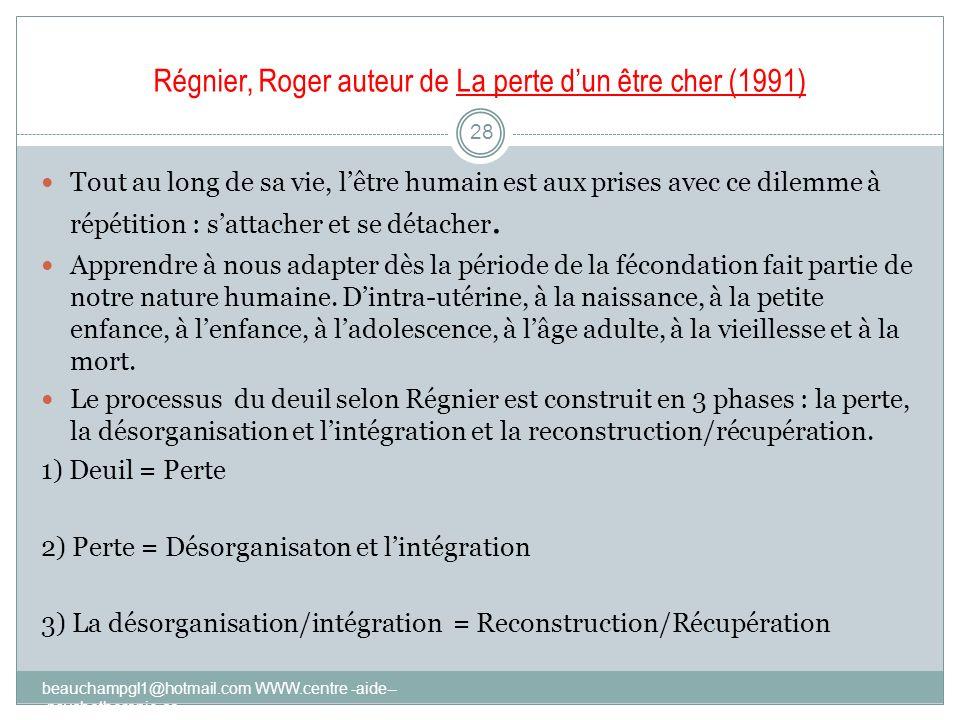Régnier, Roger auteur de La perte d'un être cher (1991)