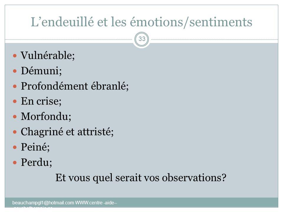 L'endeuillé et les émotions/sentiments