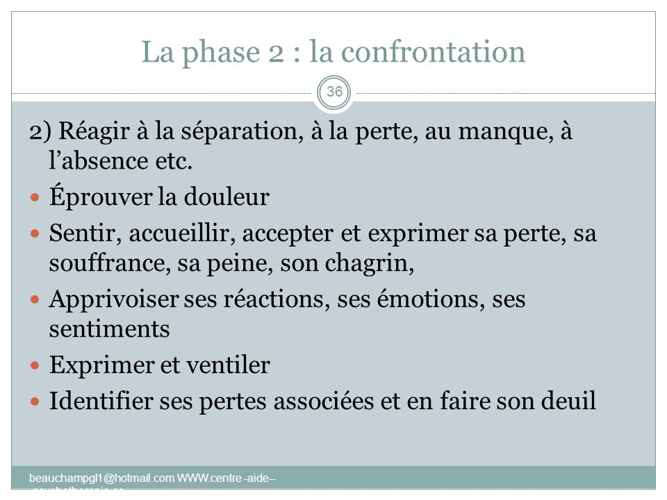 La phase 2 : la confrontation