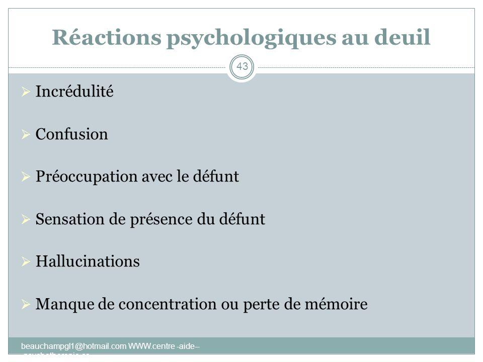 Réactions psychologiques au deuil