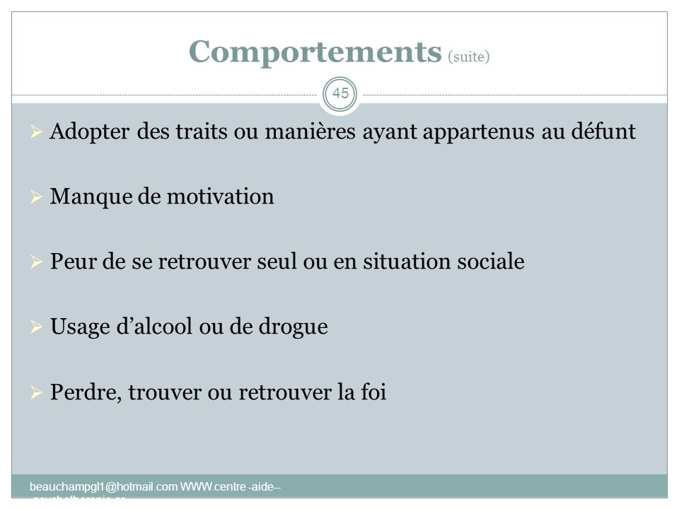 Comportements (suite)