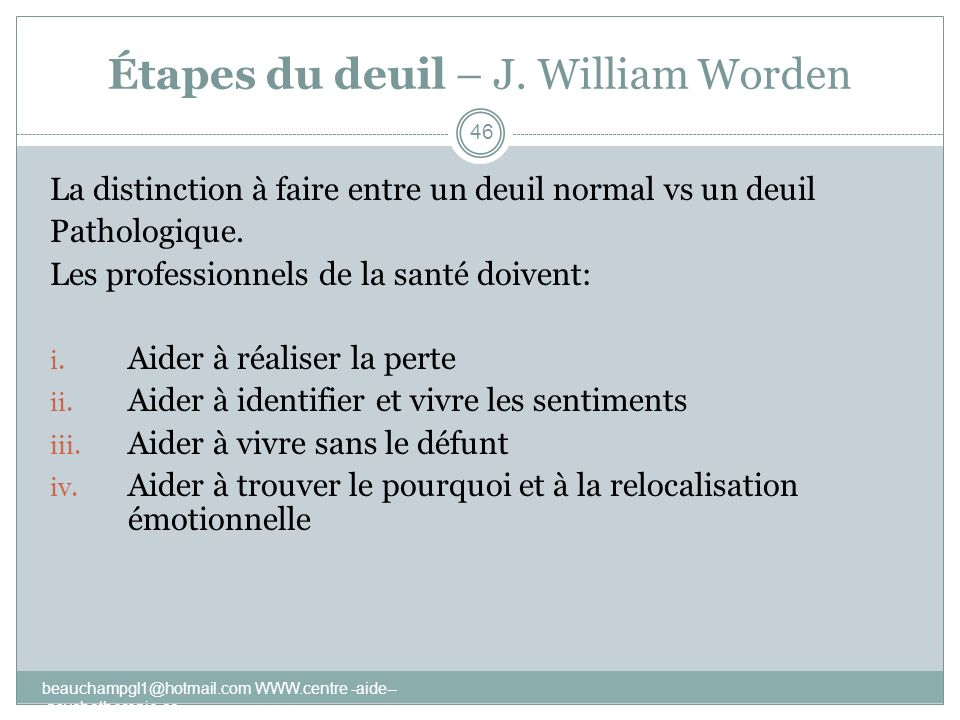 Étapes du deuil – J. William Worden